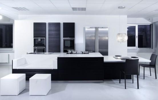 Kuhinje v rni in beli barvni kombinaciji so produkt for Modern japanese kitchen design by toyo kitchen