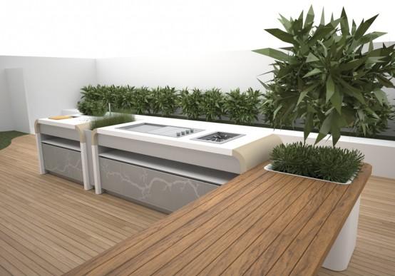 Zunanja ali vrtna kuhinja mehak in futuristi en prehod ter videz vrtne kuhinje na prostem by Kitchen garden design australia